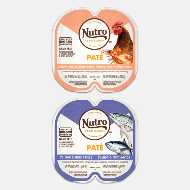 Packshot of of chicken & shrimp and salmon & tuna products