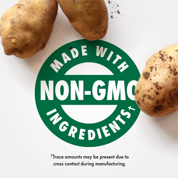 "made with non-gmo ingredients"" with raw potatoes"