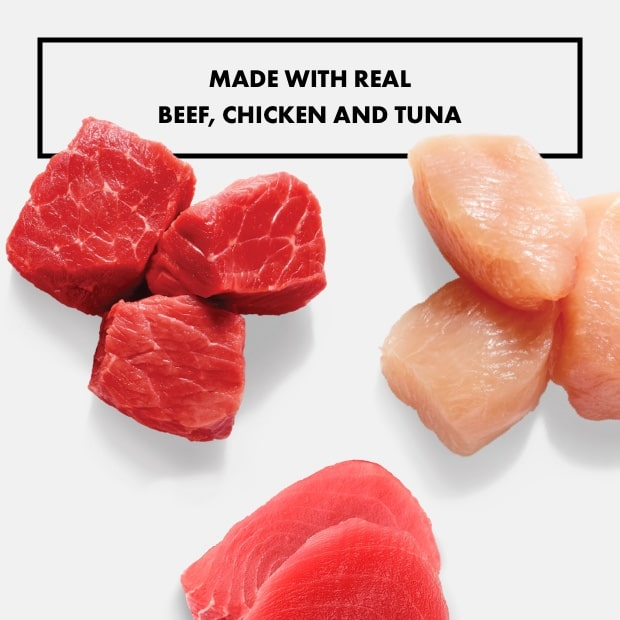 "chunks of raw beef and chicken and tuna with text that reads ""made with real beef, chicken and tuna"""
