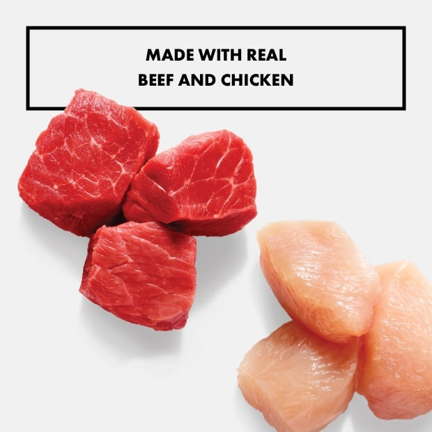 """chunks of raw beef and chicken with text that reads """"made with real beef and chicken"""""""