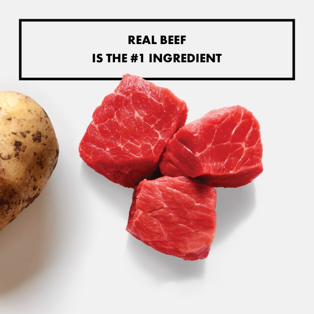 """chunks of raw beef with potato """"real beef  is the #1 ingredient"""""""