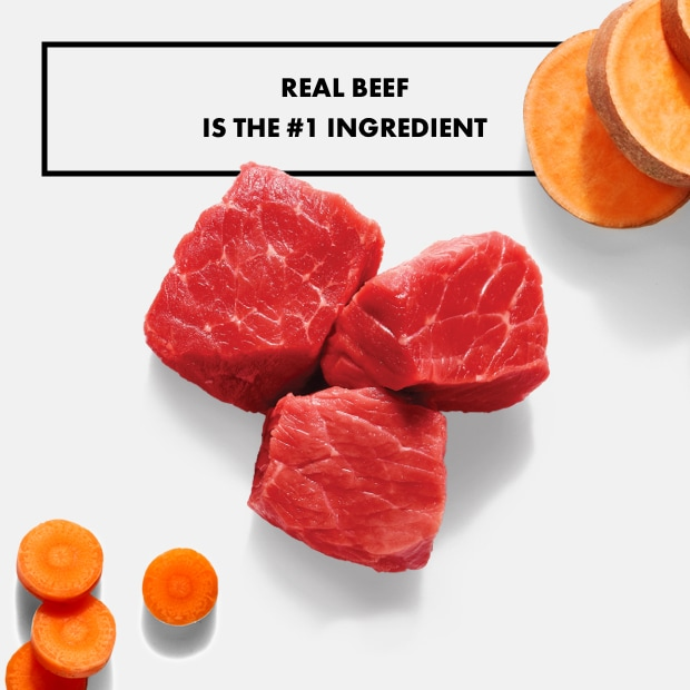 "chunks of raw beef with sweet potato ""real beef is the #1 ingredient"""