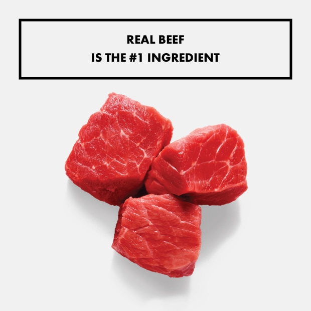 "small chunks of raw beef with text that said ""real beef is the #1 ingredient"""
