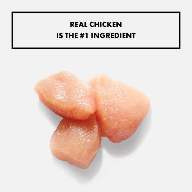 "small chunks of chicken with text that said ""real chicken is the #1 ingredient"""