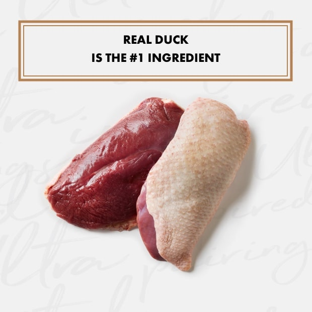 """raw duck with vegetables text that reads """"real duck is the #1 ingredient"""""""