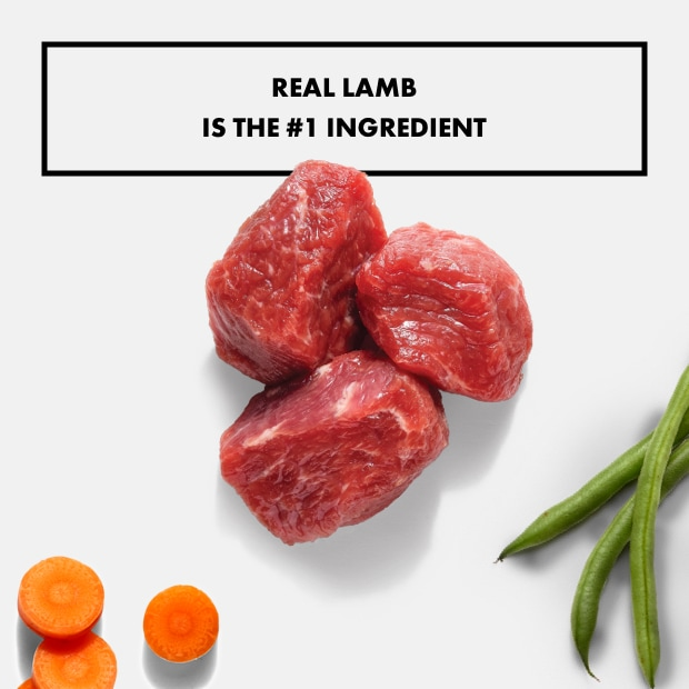 """small chunks of real lamb with text that said """"real lamb is the #1 ingredient"""" with sweet potatoes"""