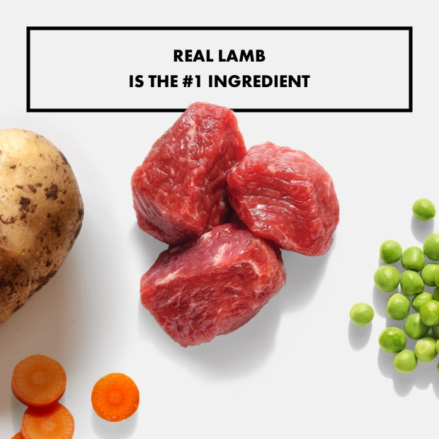 "small chunks of real lamb with text that said ""real lamb is the #1 ingredient"" with sweet potato"