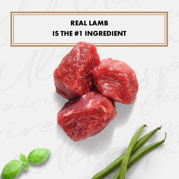 "small chunks of real lamb with text that said ""real lamb is the #1 ingredient"" with sweet potatoes"