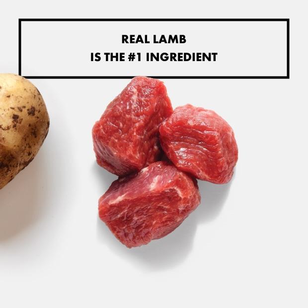 "raw pieces of lamb with text that reads ""real lamb is the #1 ingredient"""