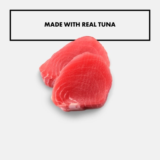 """two pieces of tuna with text that said """"made with real tuna"""""""