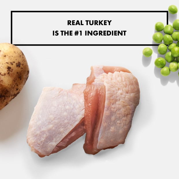 """Raw turkey with peas and potato text that reads """"real turkey is the #1 ingredient"""""""