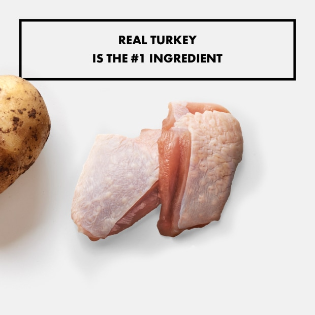"two pieces of raw turkey with text that reads ""real turkey is the #1 ingredient"" raw potato"
