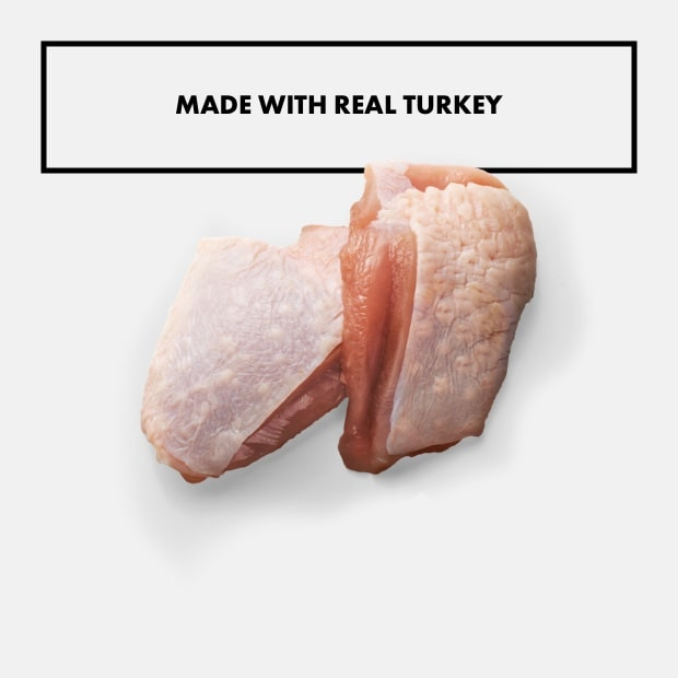 "two pieces of raw turkey with text that reads ""made with real turkey"""