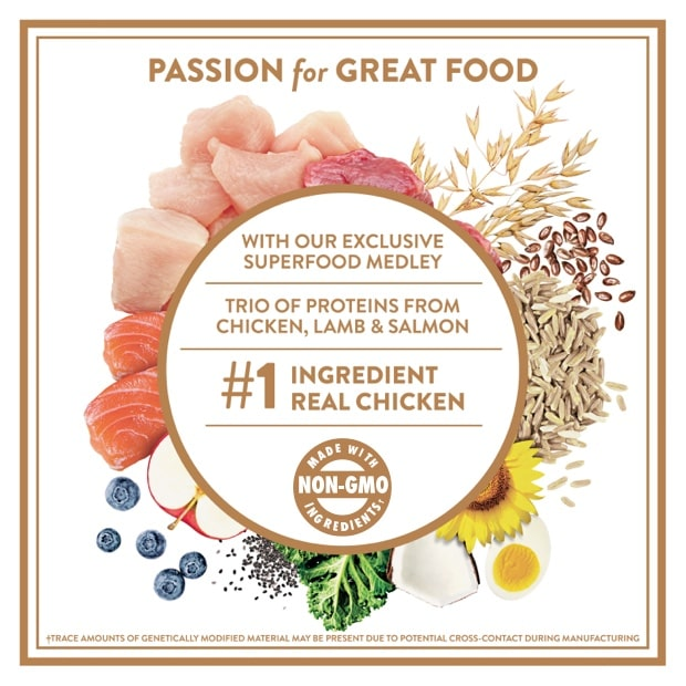 """three pieces of raw lamb, chicken and salmon meat with text that reads """"real lamb, chicken and salmon are the #1 ingredients"""""""
